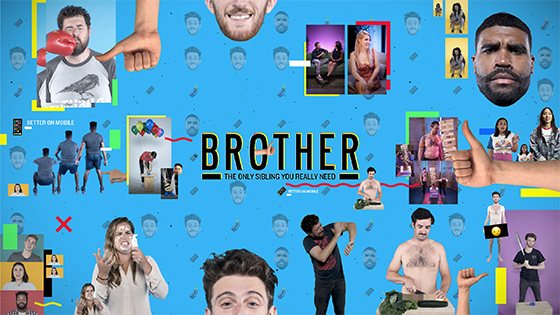 Brother Logo and banner with various small photos (abstract)