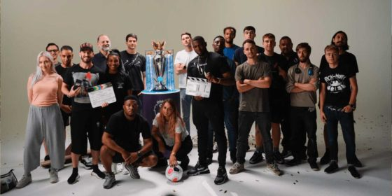 The Whistle team with the Premier League Trophy