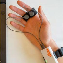 Shimmer Galvanic Skin Response detector device on a test subject's finger