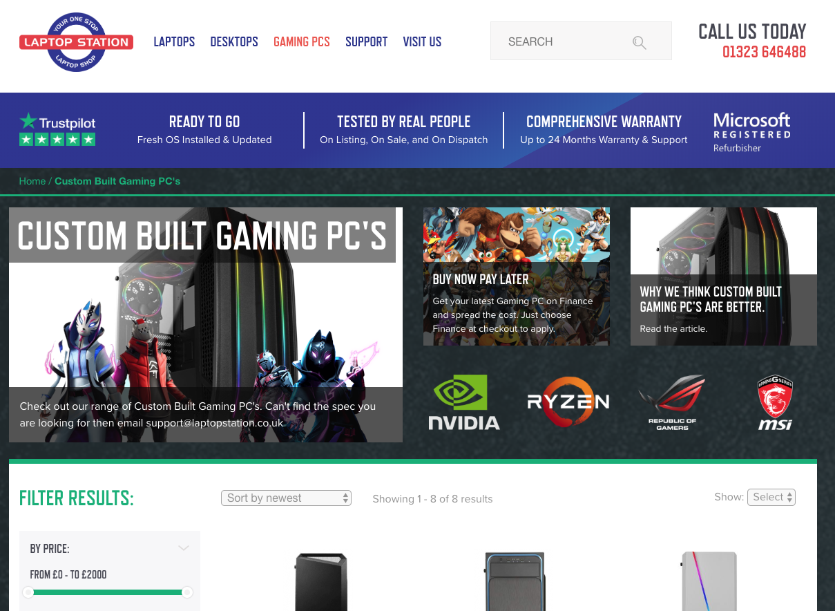 Screenshot of a new Gaming PC's landing page Laptop Station website with revisions made by Huxley