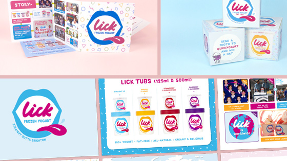 Selection of print assets created for Lick, including tubs, brochures, boxes and various page inserts