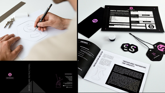 Sketch during logo design process for Sharp, alongside various designed and printed assets including business cards, tags, booklets and certificate.