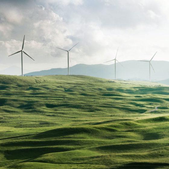 Windmills on a Welsh hillside.