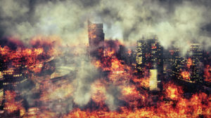A hideous image of a burning city, to represent 2020