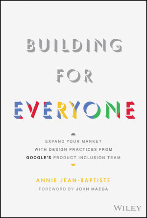 "The cover for Building For Everyone, a simple white cover with the ""Everyone"" in the branding colours of Google (blue, red, yellow, green)"