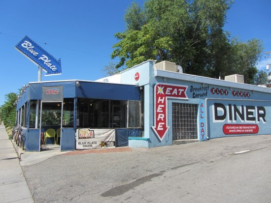 The outside of a blue, old-school diner called The Blue Plate in Salt Lake City, Utah