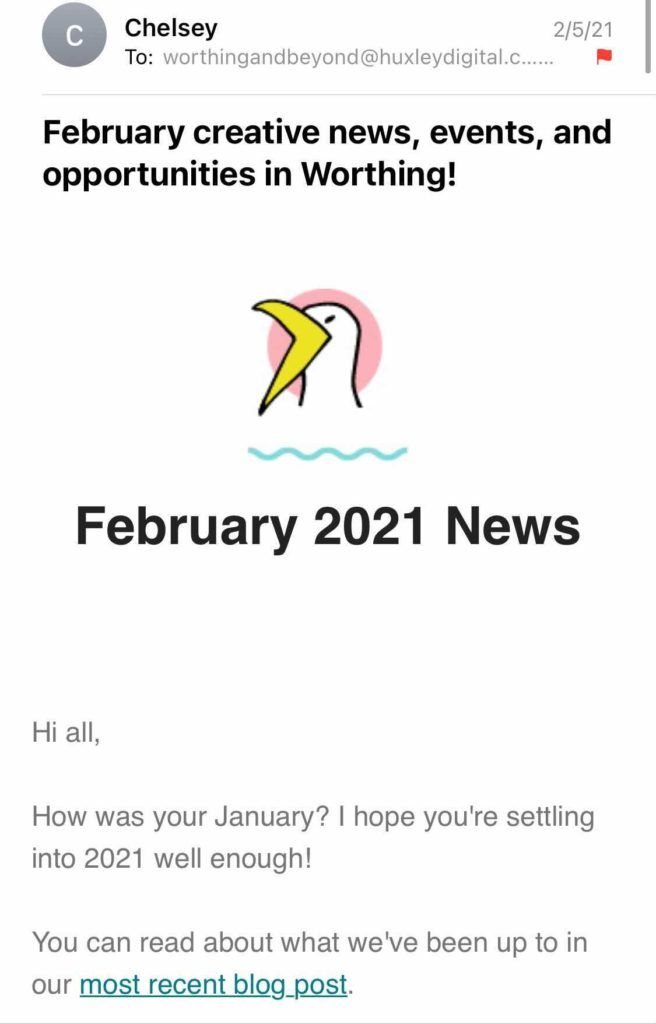 A screenshot of February's Worthing & Beyond newsletter