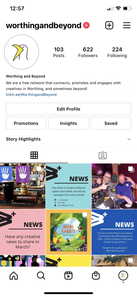 A screenshot of the WorthingandBeyond Instagram grid as of 2/3/21