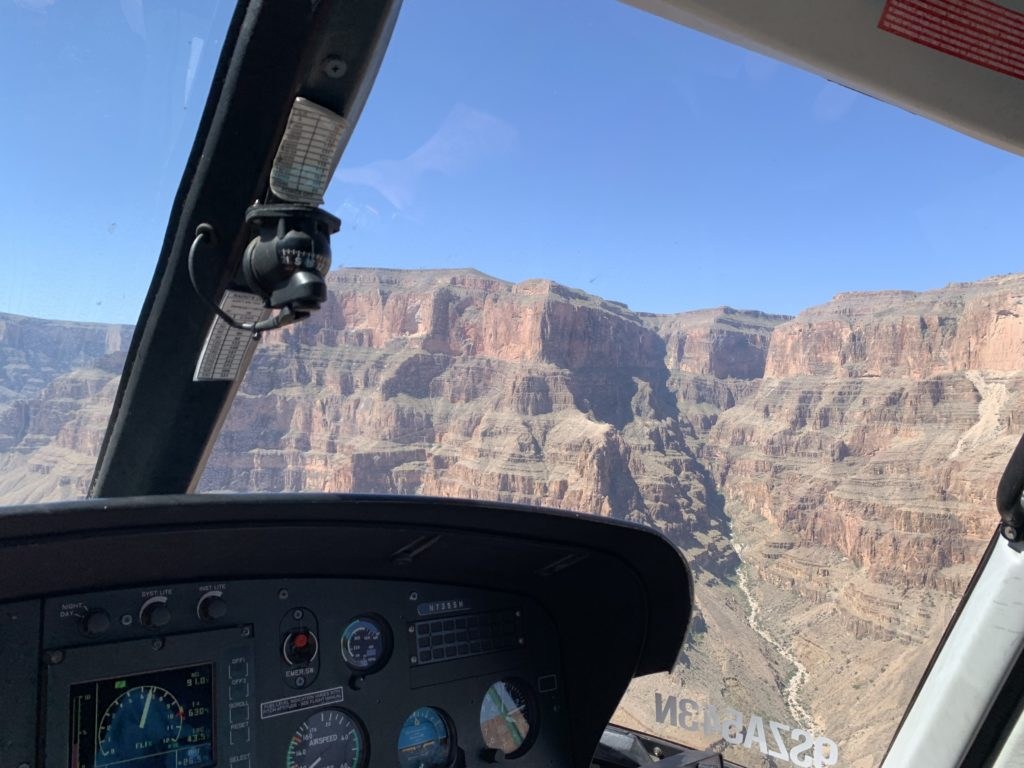 The Grand Canyon from the inside of a helicopter