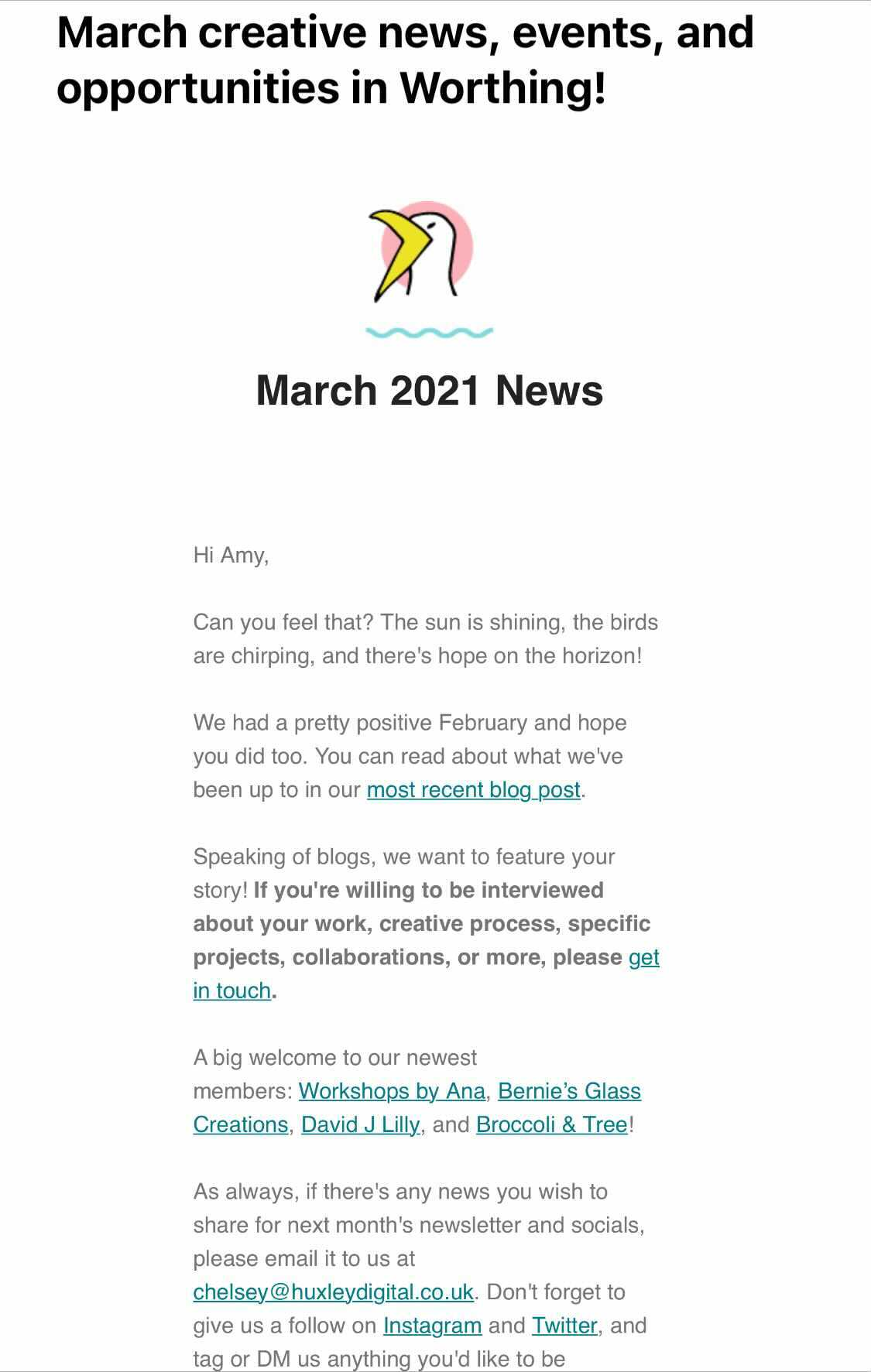 A screenshot of March's Worthing & Beyond newsletter
