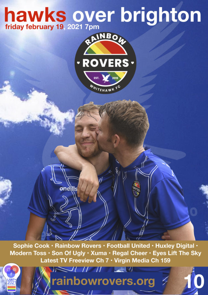 "Poster promoting Eposode 10 of ""Hawks over Brighton"" - the Rainbow Rovers edition."