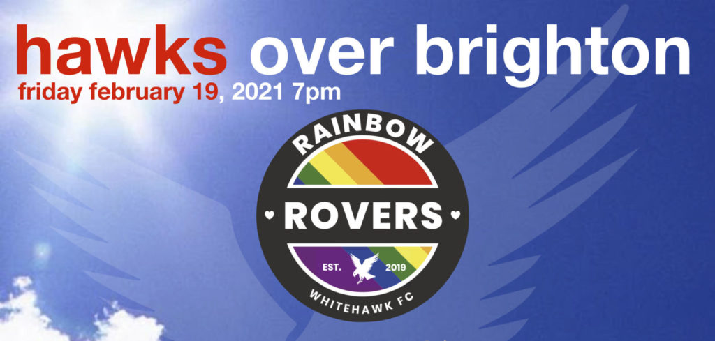 """Poster promoting Eposode 10 of """"Hawks over Brighton"""" - the Rainbow Rovers edition."""