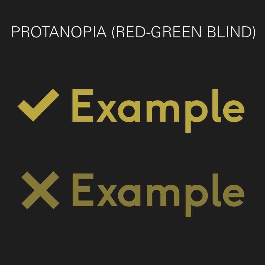 """A black graphic with """"Protanopia (Red-Green Blind)"""" and Example written in muted green tones with a check mark and red X"""