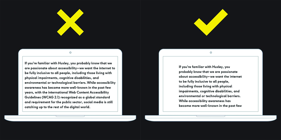 Left: Black graphic with an illustration of a computer screen, a large block of text going from edge to edge, and a big yellow X Right: Black graphic with an illustration of a computer screen, a block of text taking up about half the screen and set in the centre, and a big yellow check
