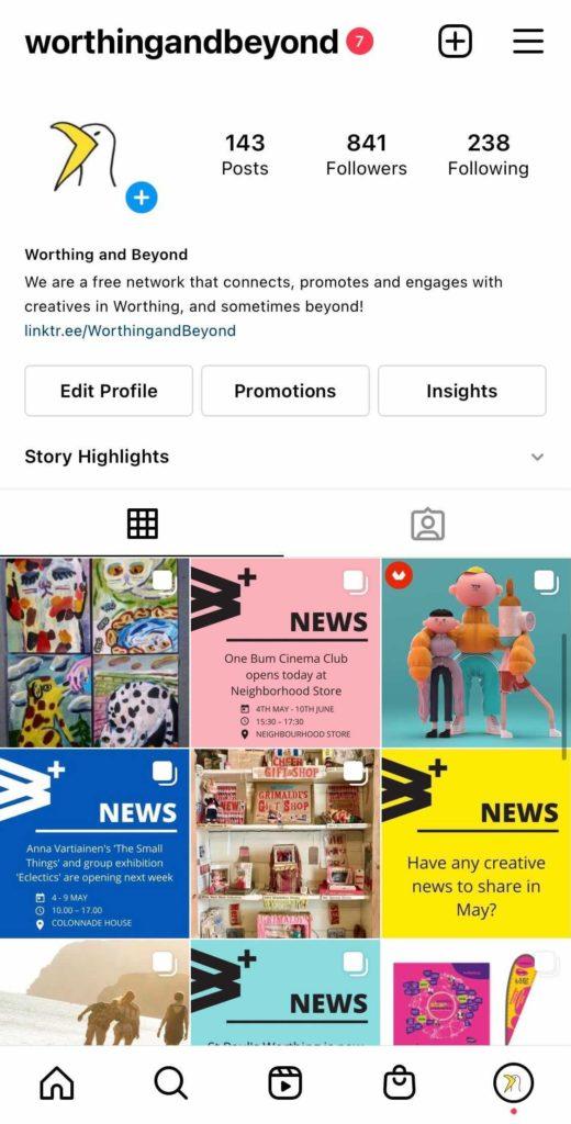 The @WorthingandBeyond Instagram grid as of 5/5/21