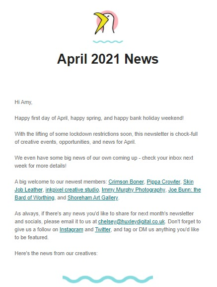 A screenshot of April's Worthing & Beyond newsletter