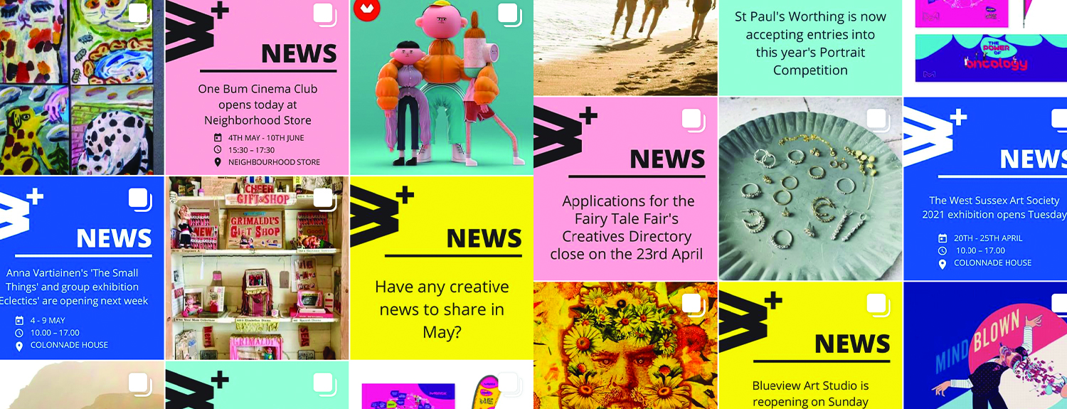 Screenshots of the Worthing & Beyond instagram grid in April, featurings lots of brightly coloured squares and art from various creatives