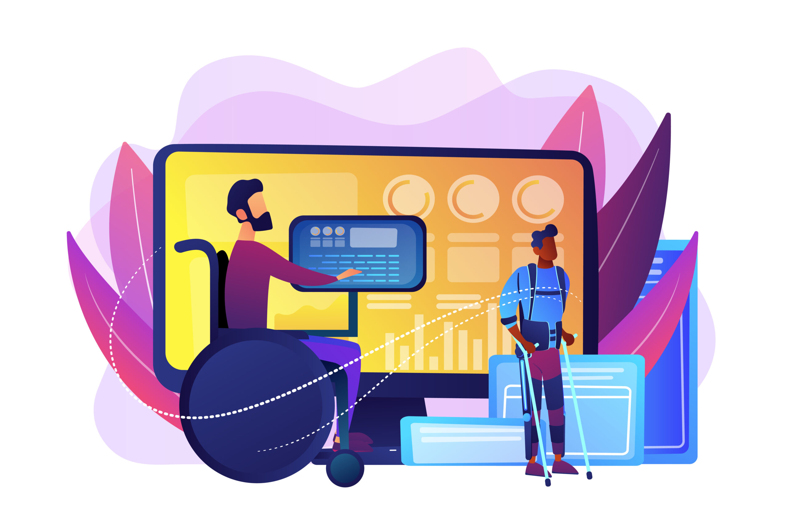 A vector illustration composite of a man in a wheelchair using touch assistive technology, a man standing with the use of 2 walking sticks, and overlapping images of screens