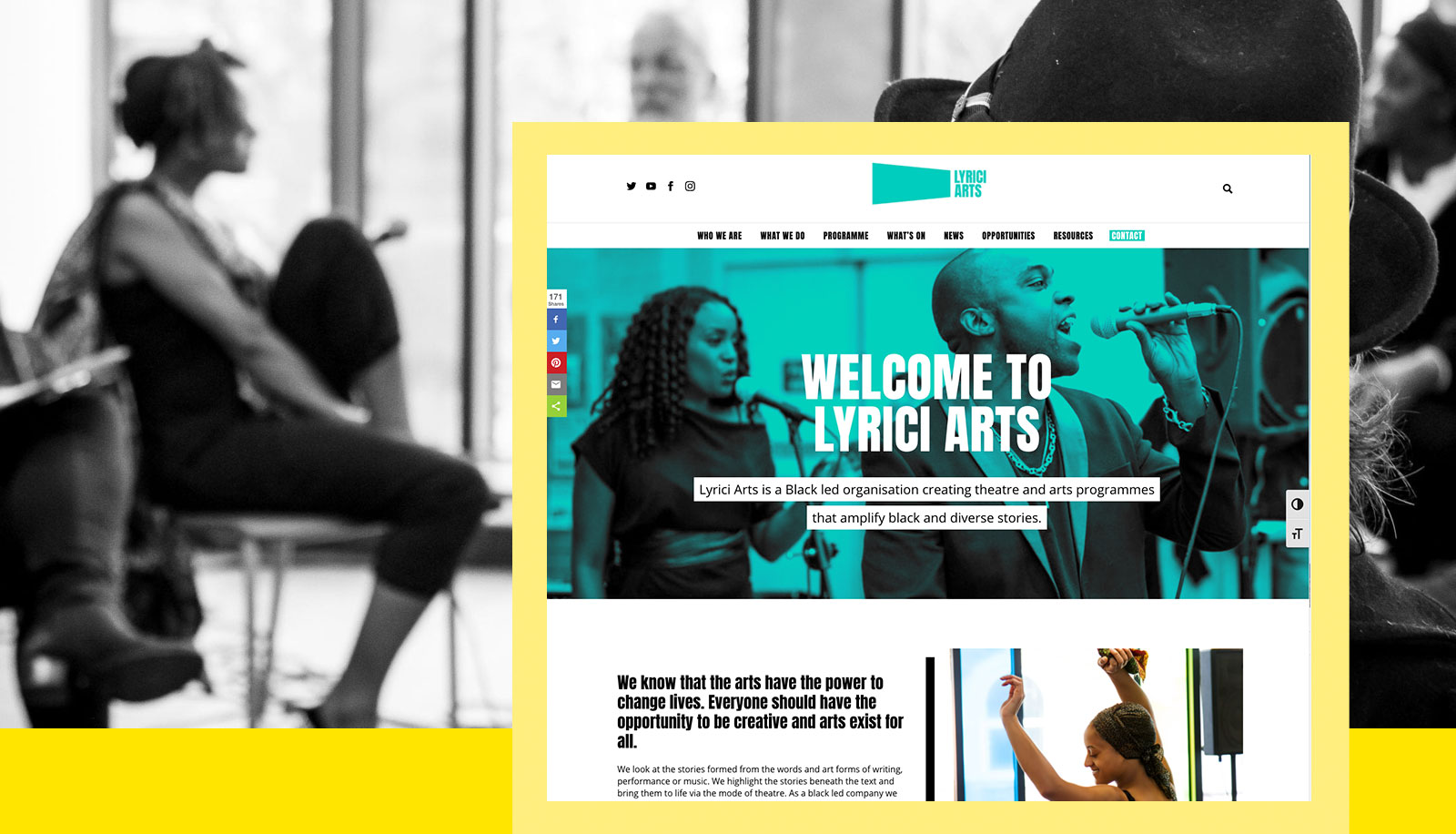 Screenshot of the Lyrici Arts Website
