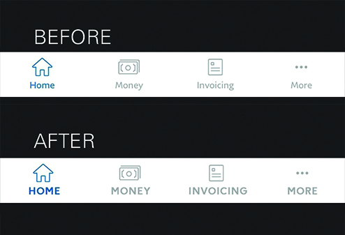 """Black graphic with white text that says: """"BEFORE"""", a screenshot of a navigation panel from the Paypal app with small text, then """"AFTER"""", a screenshot of a navigation panel from the Paypal app"""