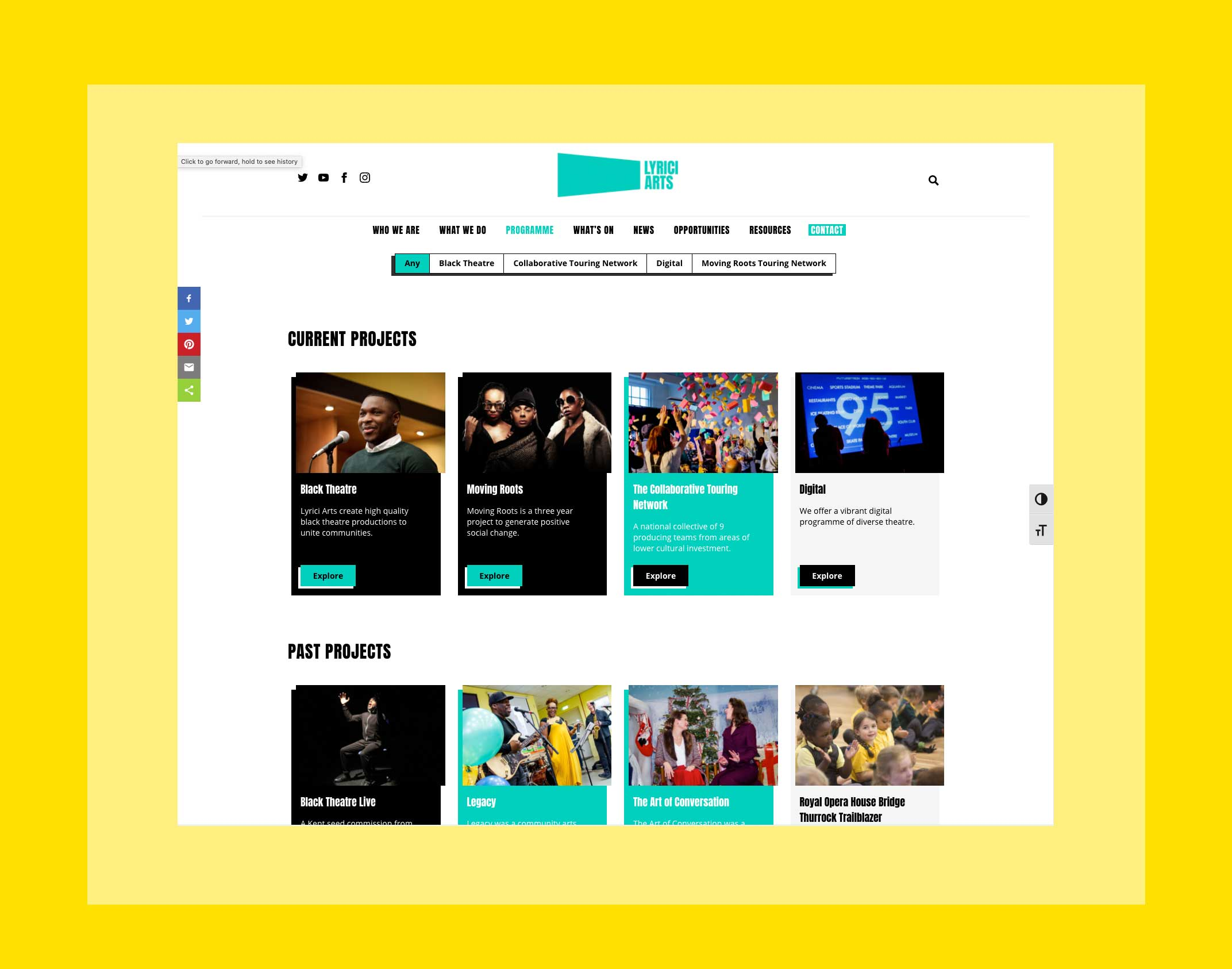 A screenshot of the projects page on Lyrici Arts