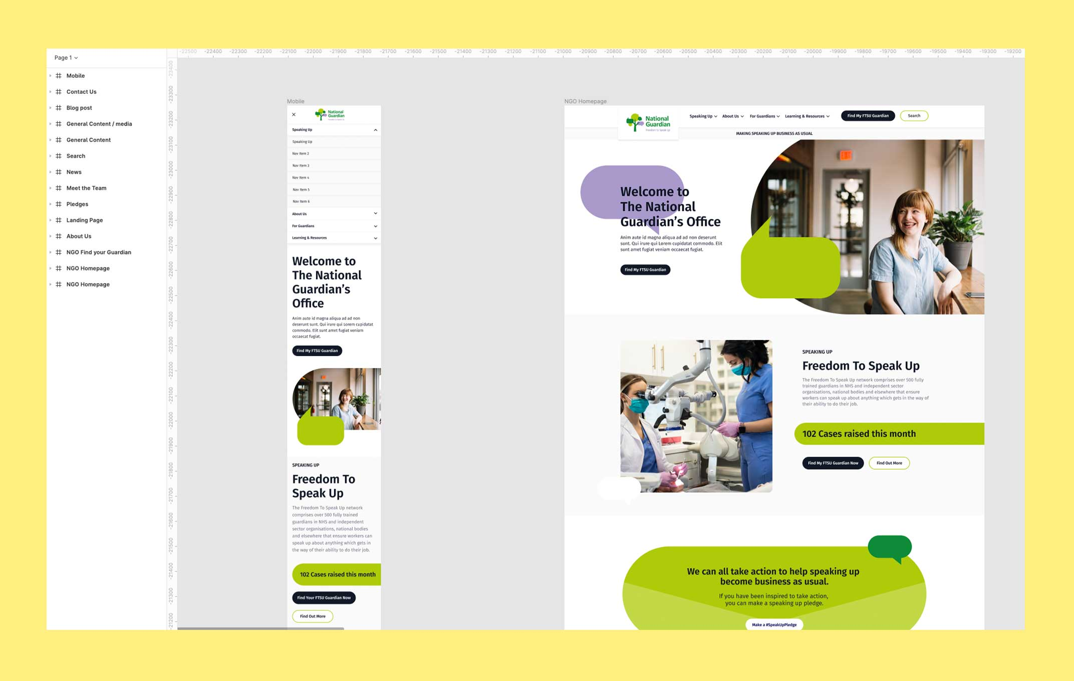 Screenshot of design work showing mobile and desktop visuals for the National Guardian's Office