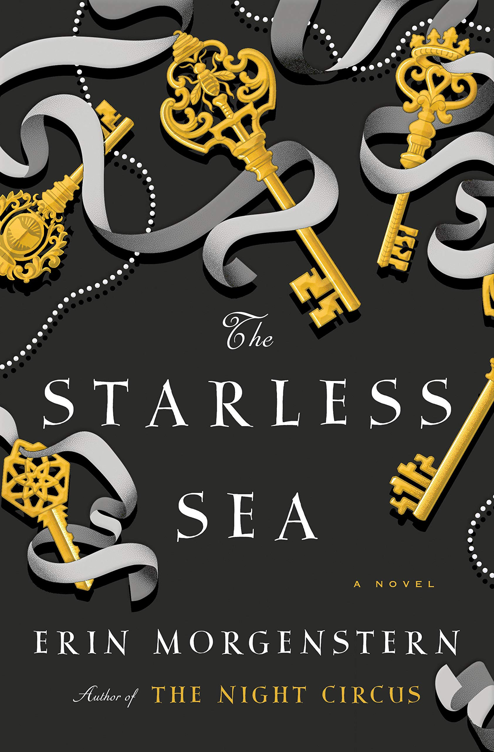 Book cover of the Starless Sea by Erin Morgenstenn, showing several fancy keys intertwined with silver ribbon
