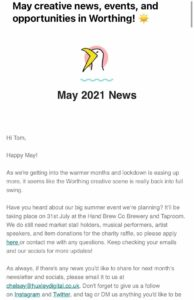 A screenshot of May's Worthing & Beyond newsletter