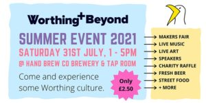 Promotional graphic about the Worthing and Beyond event on 31st July