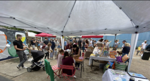 a shot of the fair underneath the gazebo
