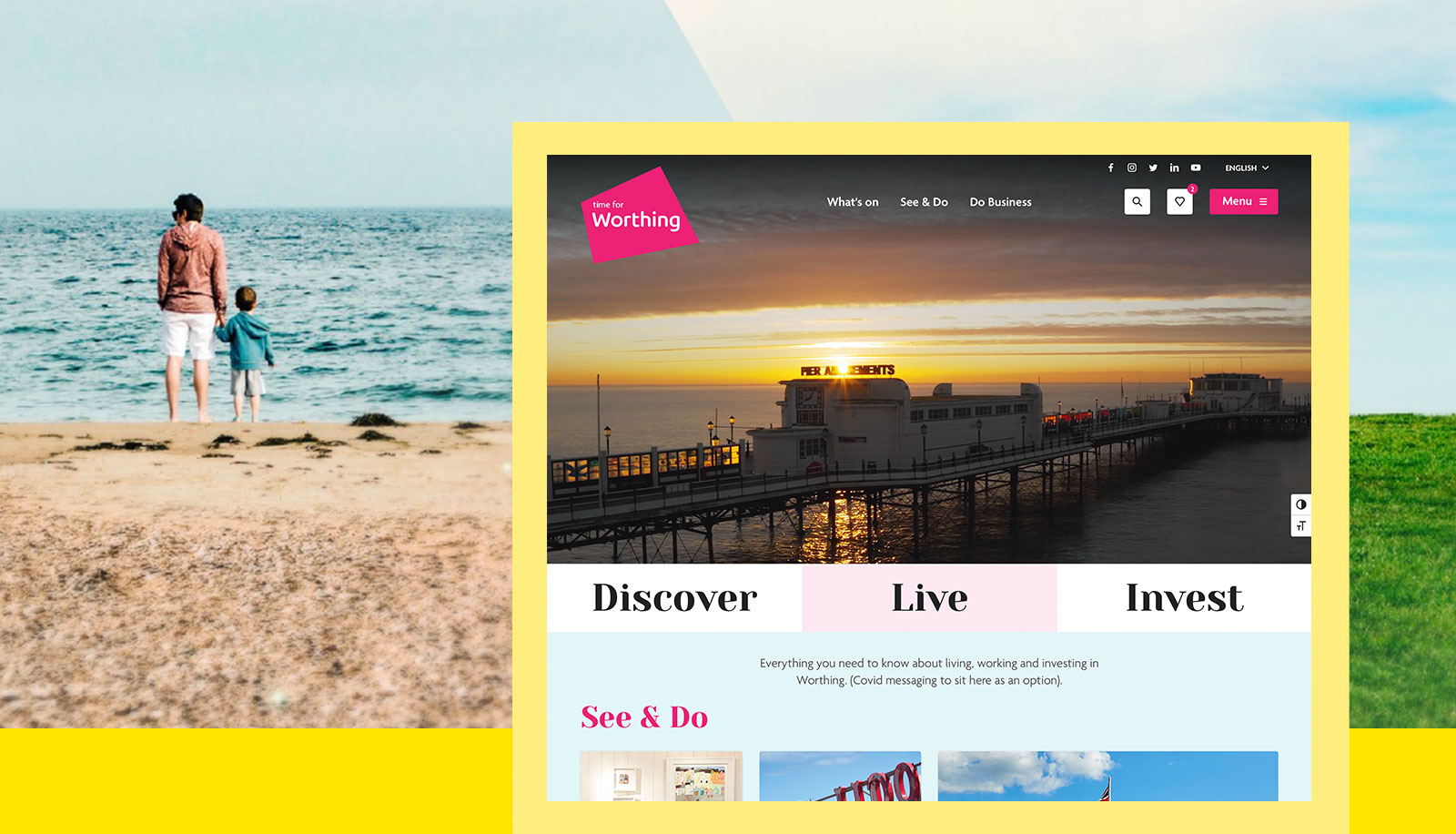 A screenshot of the Time for Worthing homepage superimposed on an image of a family on a beach from Worthing's place brand guidelines