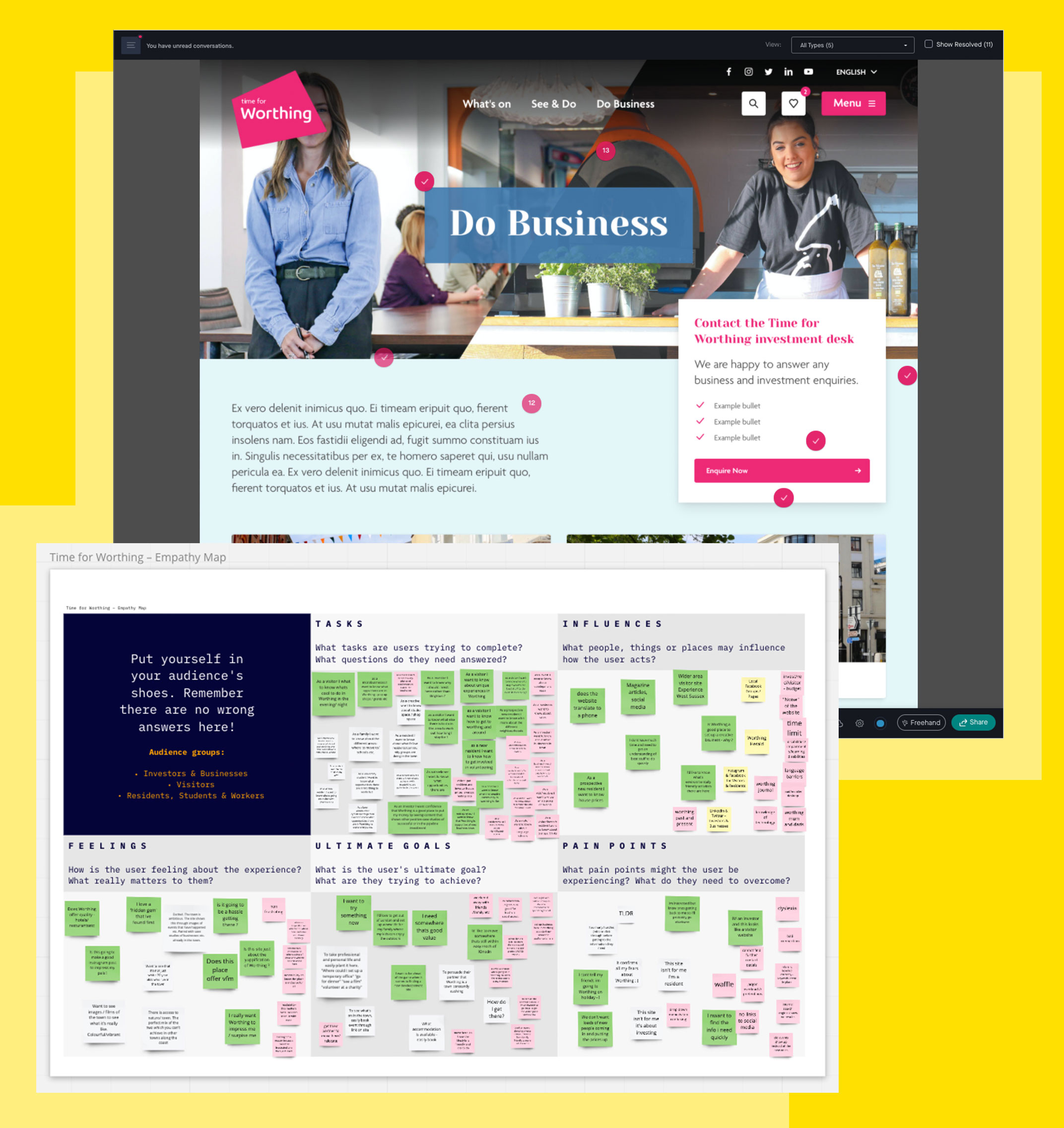 Screenshots of an interactive design prototype showing comment marks from viewers and the results of an empathy mapping session