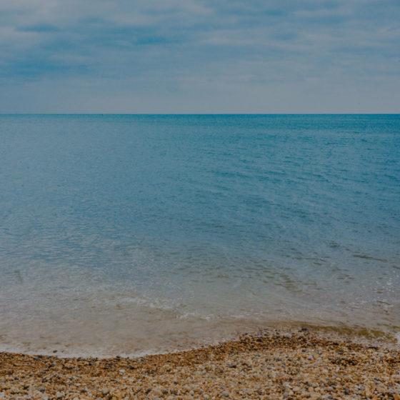 Worthing beach shoreline and horizon